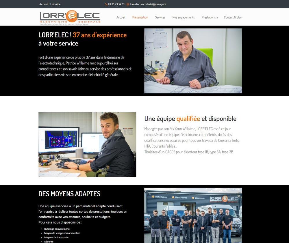 site internet Lorr'Elec, entreprise d'électricité de Belleville sur Meuse